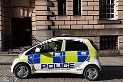 Electric police car on street in Edinburgh, Scotland,UK