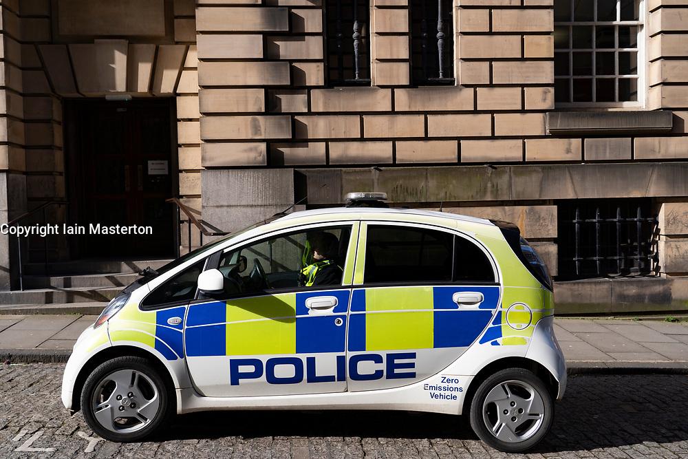 Electric police car on street in Edinburgh, Scotland,UK