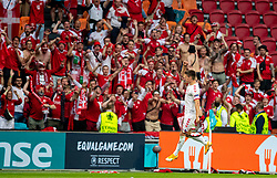 AMSTERDAM, THE NETHERLANDS - Saturday, June 26, 2021: Denmark's Joakim Mæhle celebrates with supporters after the UEFA Euro 2020 Round of 16 match between Wales and Denmark at the  Amsterdam Arena. Denmark won 4-0. (Photo by David Rawcliffe/Propaganda)
