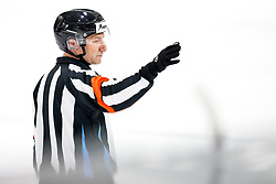 Referee Viki Trilar during ice hockey match between HK SZ Olimpija and HDD SIJ Acroni Jesenice in first game of Final at Slovenian National League, on April 30, 2020 in Hala Tivoli, Ljubljana, Slovenia. Photo by Matic Klansek Velej / Sportida