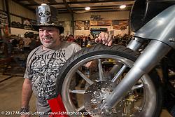 Krazy J Kieffer at Bill Dodge's Blings Cycle shop during Biketoberfest. Daytona Beach, FL, USA. Friday October 20, 2017. Photography ©2017 Michael Lichter.