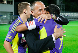 Darko Milanic, head coach of Maribor and Marcos Tavares #9 of Maribor celebrate after winning the football match between NK Maribor and NK Celje in final of Slovenian Cup 2013 on May 29, 2013 in Stadium Bonifika, Koper, Slovenia. Maribor defeated Celje 1-0 and became Slovenian Cup Champion 2013. (Photo By Vid Ponikvar / Sportida)