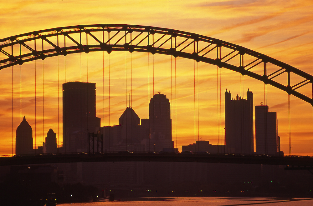 Pittsburgh, PA, Skyline at Sunrise, from West End