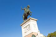 Plaza de Oriente equestrian statue King Felipe IV designed by Velazquez, Madrid, Spain