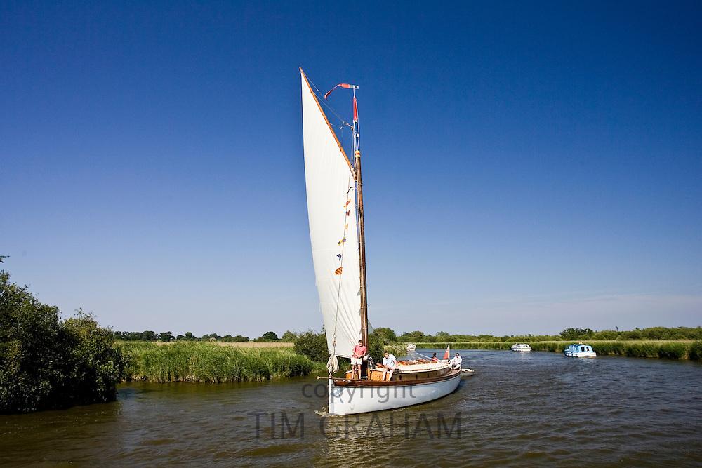 Sailing boat on the Norfolk Broads, United Kingdom