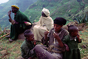 An Ethiopian family in the Northern Highlands, Ethiopia.