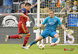 Sep 30, 2018; Kansas City, KS, USA; Real Salt Lake forward Jefferson Savarino (7) makes a shot on goal as Sporting Kansas City goalkeeper Tim Melia (29) defends during the first half at Children's Mercy Park. Mandatory Credit: Denny Medley-USA TODAY Sports