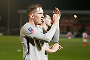 Ronan Curtis of Portsmouth applauds the fans at full time during the The FA Cup match between Fleetwood Town and Portsmouth at the Highbury Stadium, Fleetwood, England on 4 January 2020.