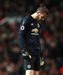 Manchester United goalkeeper David De Gea appears dejected