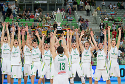 Players of Lithuania celebrate during ceremony after Lithuania won and become European Champions U-20 after basketball match between National teams of Lithuania and France in Final match of U20 Men European Championship Slovenia 2012, on July 22, 2012 in SRC Stozice, Ljubljana, Slovenia. Lithuania defeated France 50:49. (Photo by Matic Klansek Velej / Sportida.com)
