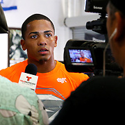 KISSIMMEE, FL - OCTOBER 05: Puerto Rican boxer Felix Verdejo announces his next fight after his media workout event at the Kissimmee Boxing Gym on October 4, 2015 in Kissimmee, Florida. Verdejo is returning from a hand injury and announced his next fight will take place in Kissimmee on October 31. (Photo by Alex Menendez/Getty Images) *** Local Caption *** Felix Verdejo