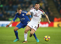 Leicester City's Marc Albrighton (left) and Burnley's Phil Bardsley battle for the ball