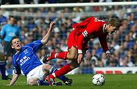 Photo Aidan Ellis.<br />Everton v Liverpool (FA Barclaycard Premiership)<br />19/04/2003.<br />Liverpool's Steven Gerrard and Everton's Gary Naysmith