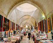 Textile section of Urfa's old bazaar.