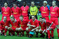 Fotball. UEFA Champions League 2001/2002.<br /> Liverpool v Roma. 19.03.2002.<br /> The Liverpool Team before the kick off. Back Row (L to R) Jari Litmanen, Jamie Carragher, Emile Heskey, Jurzy Dudek, Abel Xavier, Stephane Henchoz. Front Row (L to R) Danny Murphy, Steven Gerrard, John Arne Riise, Sami Hyypia and Vladimir Smicer.<br /> Foto: Andrew Cowie, Digitalsport