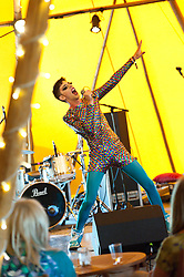 © Licensed to London News Pictures. 30/05/2016. Hay-on-Wye, Powys, Wales, UK. Cabaret act Bourgeois & Maurice perform at The Hat venue at The Riverside festival site on the fifth day of 'HowTheLightGetsIn' Festival of Ideas - The philosophy and music festival at Hay-on-Wye, Wales, UK. HowTheLightGetsIn festival was founded by post-realist philosopher and director of the Institute of Art and Ideas, Hilary Lawson. Photo credit: Graham M. Lawrence/LNP