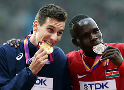 France's Pierre-Ambroise Bosse (gold) and Kenya's Kipyegon Bett (bronze) with their medals from the Men's 800m during day six of the 2017 IAAF World Championships at the London Stadium.