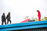 Leicester, United Kingdom, May 21, 2021: A general view shows police climbing unit being ignored for any further negotiations from the pro_Palestine activists' group that occupied the building of Israeli-owned weapons manufacturing plant in the city of Leicester United Kingdom, on Friday, May 21, 2021. (Photo by Vudi Xhymshiti)
