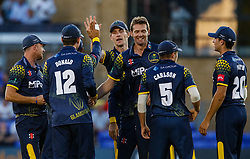 Glamorgan players celebrate the wicket of Gloucestershire's Miles Hammond<br /> <br /> Photographer Simon King/Replay Images<br /> <br /> Vitality Blast T20 - Round 8 - Glamorgan v Gloucestershire - Friday 3rd August 2018 - Sophia Gardens - Cardiff<br /> <br /> World Copyright © Replay Images . All rights reserved. info@replayimages.co.uk - http://replayimages.co.uk