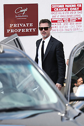 Brad Pitt exits the back of Craig's after the Chris Cornell post-funeral gathering. 26 May 2017 Pictured: Brad Pitt. Photo credit: SUPREME/MEGA TheMegaAgency.com +1 888 505 6342