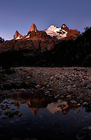 Patagonia Dawn and Reflection from Hosteria El Pilar in El Chalten, Argentina. Image taken with a Nikon D3x and 16-35 mm f/4 lens (ISO 100, 35 mm, f/8, 2.5 sec).