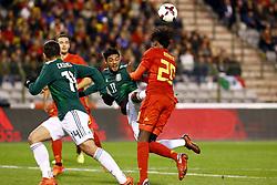 November 10, 2017 - Bruxelles, Belgique - Carlos Vela forward of Mexico and Dedryck Boyata defender of Belgium (Credit Image: © Panoramic via ZUMA Press)