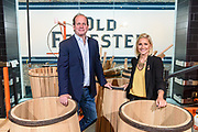 Old Forester President and Managing Director Campbell P. Brown, and their Master Taster Jacquelyn Zykan are photographed Friday, June 8, 2018 in the cooperage area of the soon to open Old Forester Distilling Company, on Whisky Row at 119 W Main Street in Louisville, Ky.
