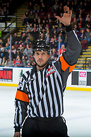 KELOWNA, CANADA - MARCH 3: Referee Tyler Adair stands on the ice at the Kelowna Rockets against the Spokane Chiefs  on March 3, 2018 at Prospera Place in Kelowna, British Columbia, Canada.  (Photo by Marissa Baecker/Shoot the Breeze)  *** Local Caption ***