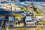 Nederland, Noord-Holland, Amsterdam, 14-06-2012; Westpoort, Nieuwe Hemweg met centrales van Nuon. Centrale Hemweg 8 met schoorsteen met witte bies is kolengestookt, Centrale Hemweg 7 is gasgestookt. In de achtergrond de Petroleumhaven met daarnaast de Coentunnel en de 2e Coentunnel in aanbouw. .Westpoort (port, industrial and office area) in the western harbour area of Amsterdam, with the Nuon power plant. luchtfoto (toeslag), aerial photo (additional fee required).foto/photo Siebe Swart