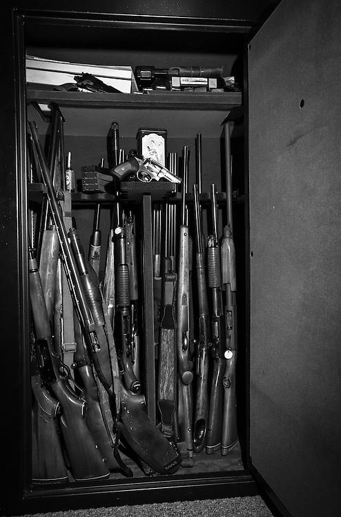 gun closet of a private gun collector in Louisiana.
