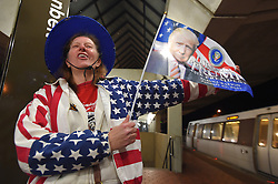 January 20, 2017 - Washington, District of Columbia, U.S. - Jamie Bartbarger of Pittsburgh waits for a train at the Greenbelt Station as she makes her way to the inaugurationin Washington, D.C. (Credit Image: © Lloyd Fox/TNS via ZUMA Wire)