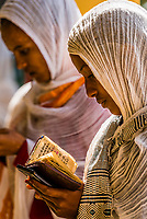 Women praying, Saint Yared Church (Ethiopian Orthodox Church), Axum (Aksum), Ethiopia.