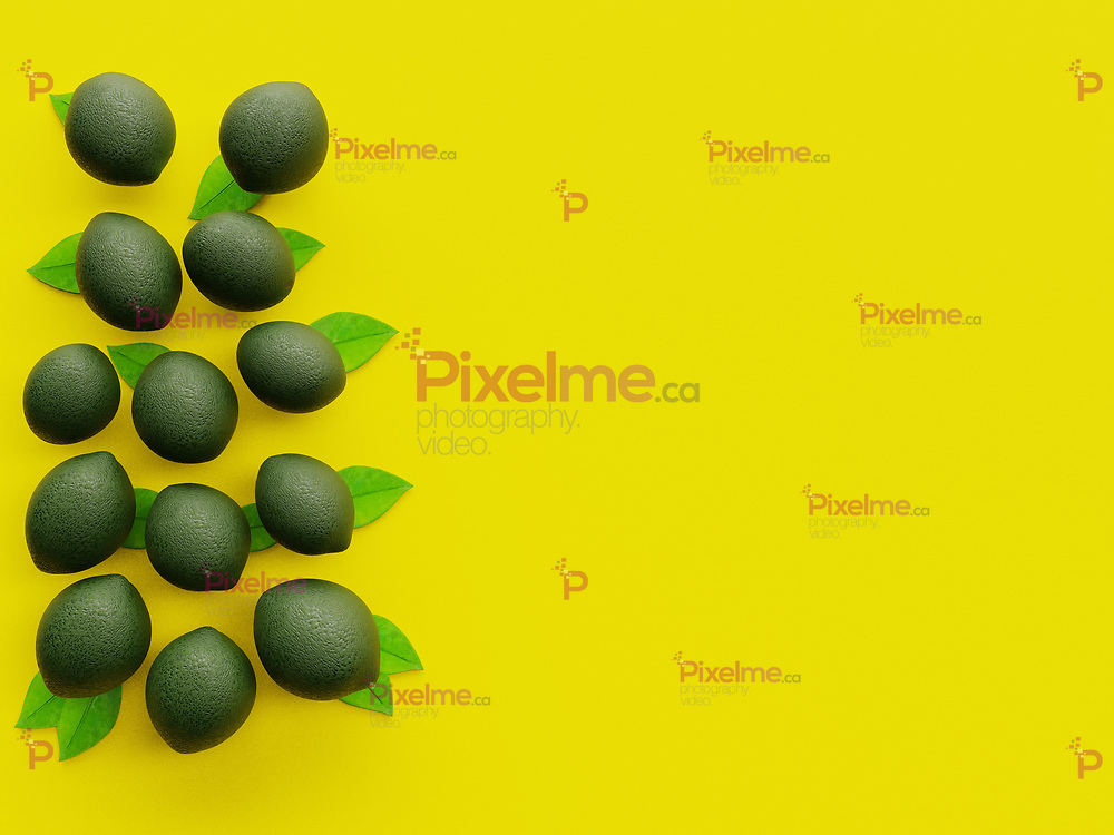 Green Lime group viewed from above with vibrant Yellow background in minimalism flatlay with copyspace - 3d rendering concept