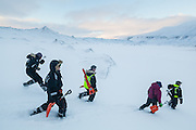Glaciologist Nick Hulton (right) leads students to the foot of Rabotbreen, Svalbard on a UNIS class field trip.