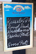 Outdoor German dinner menu on Corey Avenue.  St. Pete Beach Tampa Bay Area Florida USA