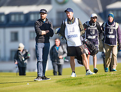 Jamie Dornan playing the first hole. Alfred Dunhill Links Championship this morning at Championship Course at Carnoustie.