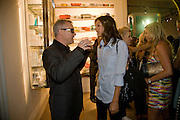 DAMIEN HIRST; DASHA ZHUKOVA, Damien Hirst party to preview his exhibition at Sotheby's. New Bond St. London. 12 September 2008 *** Local Caption *** -DO NOT ARCHIVE-© Copyright Photograph by Dafydd Jones. 248 Clapham Rd. London SW9 0PZ. Tel 0207 820 0771. www.dafjones.com.