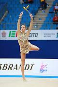 Wegscheider Natascha during qualifying at clubs in Pesaro World Cup 02 April 2016. Natascha was born in Graz , Austria, 1999. She is an Austrian individual rhythmic gymnast.