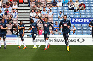Thomas Ince of Derby County © celebrates with his teammates after scoring his teams 1st goal. Skybet football league championship match, Huddersfield Town v Derby county at the John Smith's stadium in Huddersfield, Yorkshire on Saturday 18th April 2015.<br /> pic by Chris Stading, Andrew Orchard sports photography.