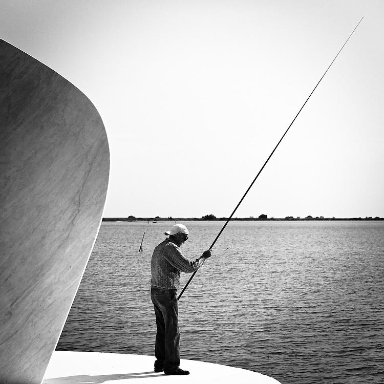 Italy - Porto Levante - Fisherman BW
