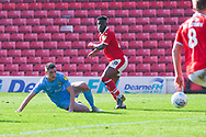 Mamadou Thiam of Barnsley (26) shoots as Dominic Hyam of Coventry City (15) blocks during the EFL Sky Bet League 1 match between Barnsley and Coventry City at Oakwell, Barnsley, England on 30 March 2019.