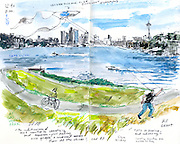 """Kite flying on """"Kite Hill"""" at gasworks park on Lake Union. (Gabriel Campanario / The Seattle Times)<br /> <br /> REPRODUCTION INCLUDES SEAM OF SKETCHBOOK"""