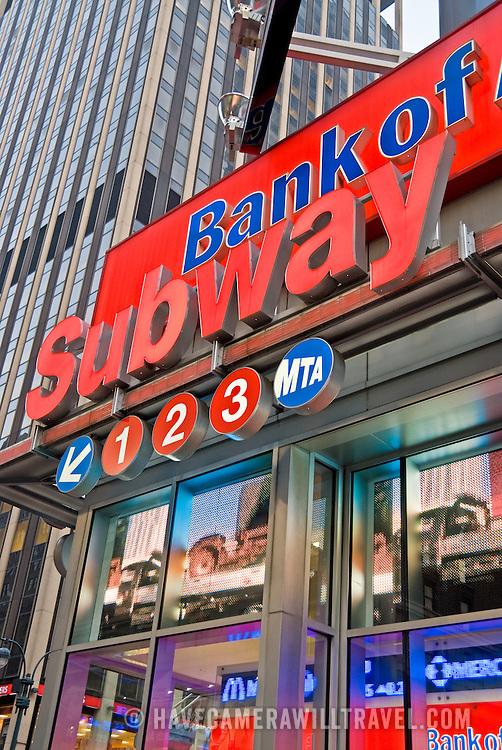 Subway sign at Penn Station in midtown Manhattan