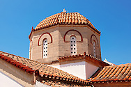 Dome of the church of Perdika, Aegina Island, Greece .<br /> <br /> If you prefer to buy from our ALAMY PHOTO LIBRARY  Collection visit : https://www.alamy.com/portfolio/paul-williams-funkystock/aegina-greece.html <br /> <br /> Visit our GREECE PHOTO COLLECTIONS for more photos to download or buy as wall art prints https://funkystock.photoshelter.com/gallery-collection/Pictures-Images-of-Greece-Photos-of-Greek-Historic-Landmark-Sites/C0000w6e8OkknEb8