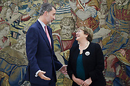 King Felipe VI of Spain, Michelle Bachelet attended a meeting at Zarzuela Palace on December 11, 2018 in Madrid, Spain