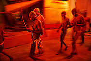 After the vijay hawan, some newly initiated Naga Sadhus walk in procession to take a bath in the river Ganges. Its a part of the process of their initiation as Naga Sadhus, which can only be done during the Kumbh Mela.<br /> <br /> Kumbh Mela, 2010, Haridwar, Uttarakhand.