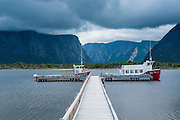 Jetty to the Western Brook pond in the Unesco world heritage sight, Gros Mourne National Park, Newfoundland, Canada