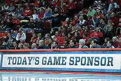 26 February 2014:  Scorer's table during an NCAA Missouri Valley Conference (MVC) mens basketball game between the Indiana State Sycamores and the Illinois State Redbirds  in Redbird Arena, Normal IL.