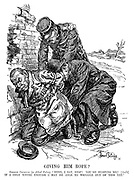 """Giving Him Rope. German Criminal (to Allied Police). """"Here, I say, stop! You're hurting me! [Aside] If I only whine enough I may be able to wriggle out of this yet."""""""