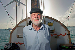 06 April 2011. St Maarten, Antilles, Caribbean.<br /> Crew of the Antiki arrive in the islands following their epic 9 week trans-Atlantic raft voyage from the Canary islands. <br /> Anthony Smith (84 yrs old) British adventurer.<br /> Photo; Charlie Varley/varleypix.com